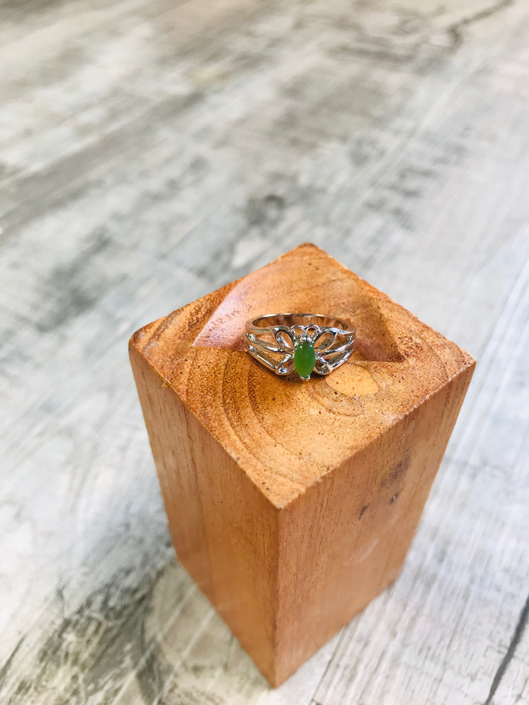 Jade Silver Butterfly Ring