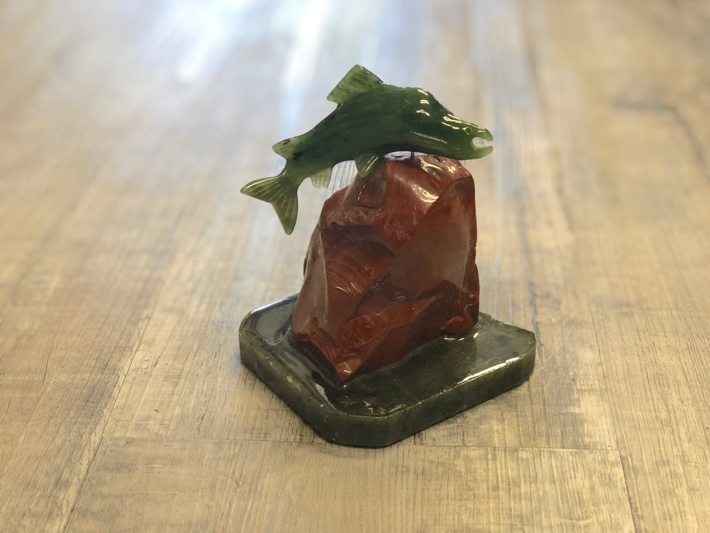 One of a Kind Jade Salmon on Red Agate Base