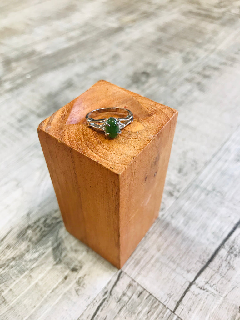Jade Oval Ring with Cubic Zirconia