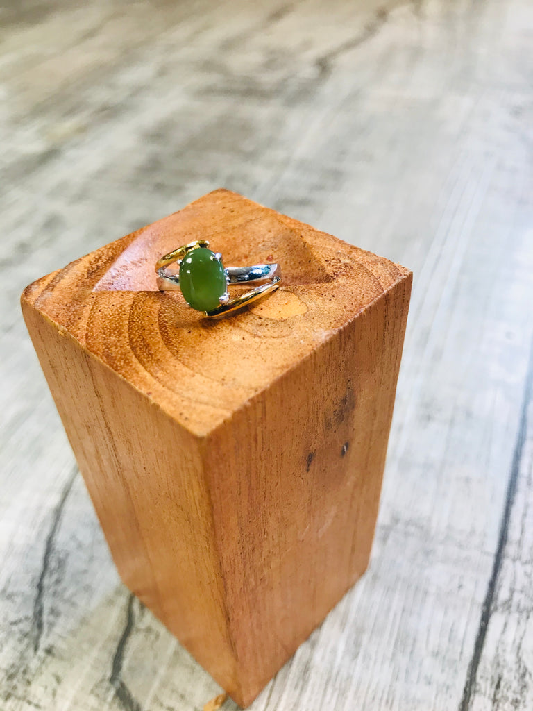 Jade Oval Two Tone Base Ring