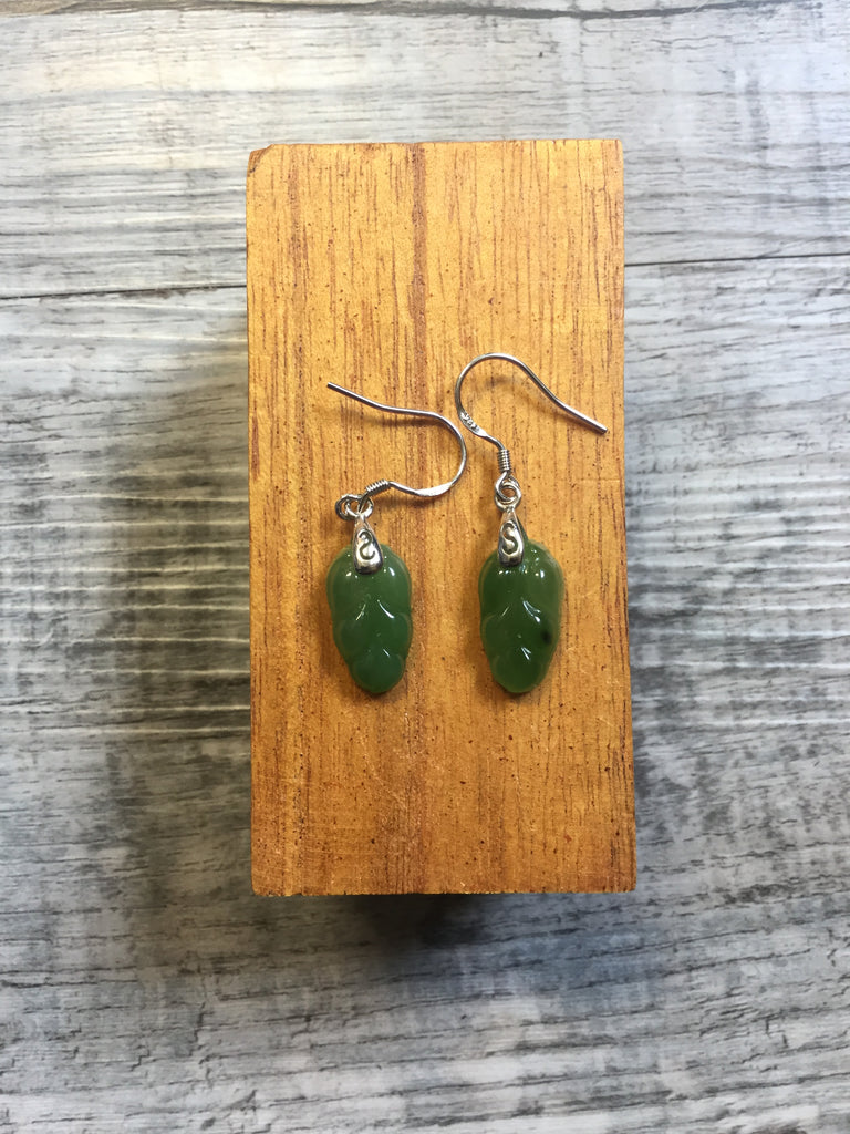 Jade Leaf Dangle Earrings