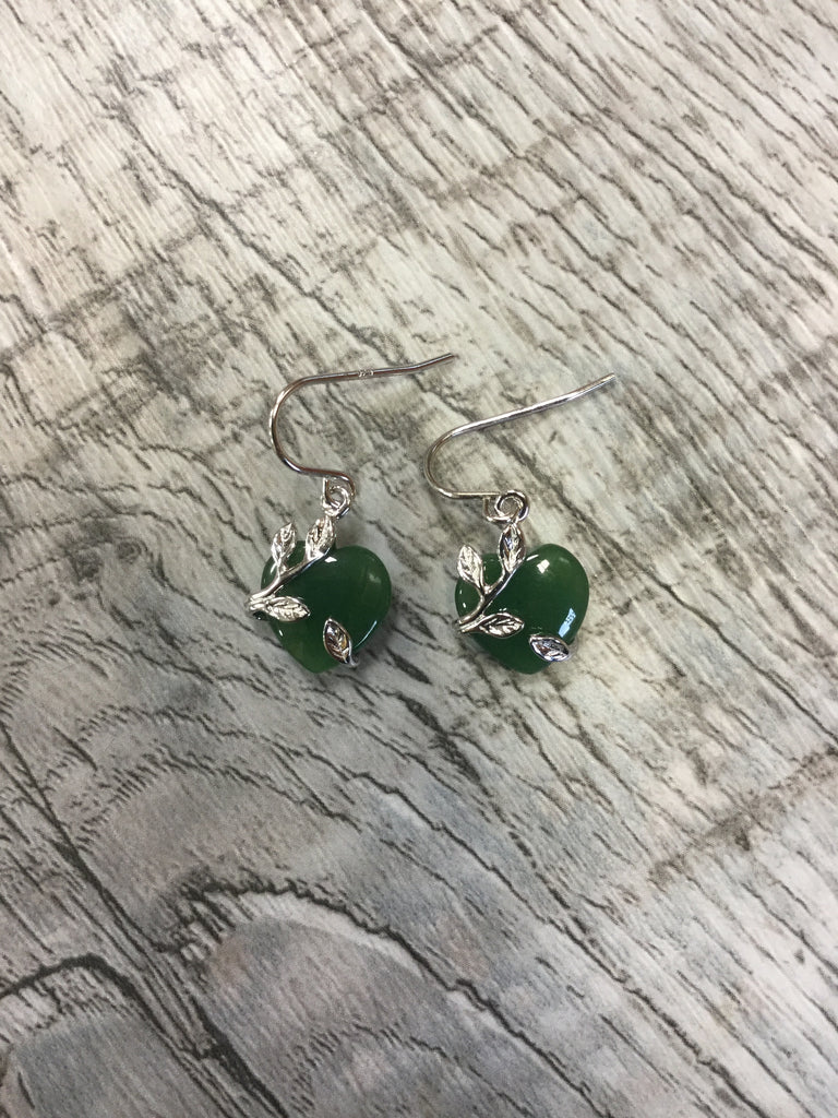 Jade Heart Dangle Hook Earring Set in Sterling Silver
