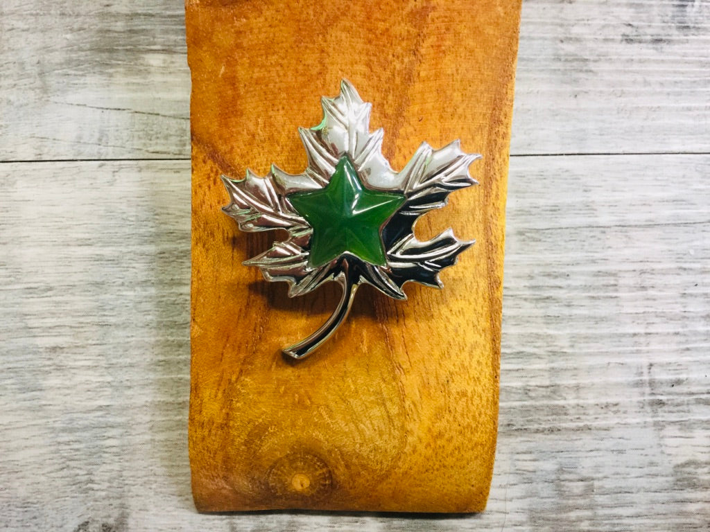 Jade Maple Leaf and Silver Brooch