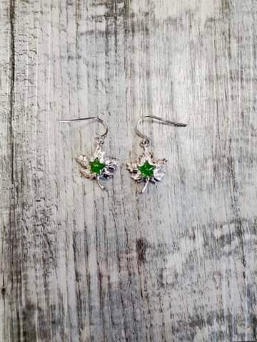 Jade and Sterling Silver Maple Leaf Earrings