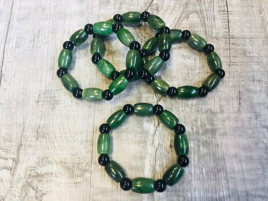 Green and Black Jade Beaded Bracelet
