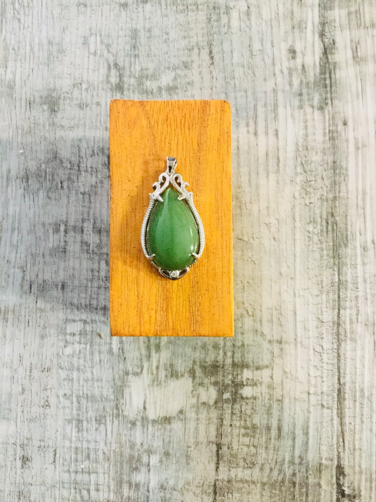 Jade Teardrop Pendant Set in Sterling Silver with Cubic Zirconia