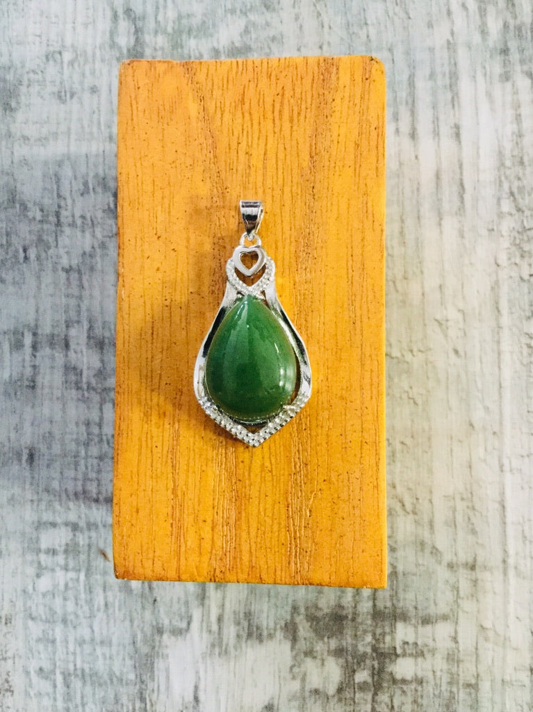 Jade Teardrop with Heart and Princess Cut Set in Sterling Silver
