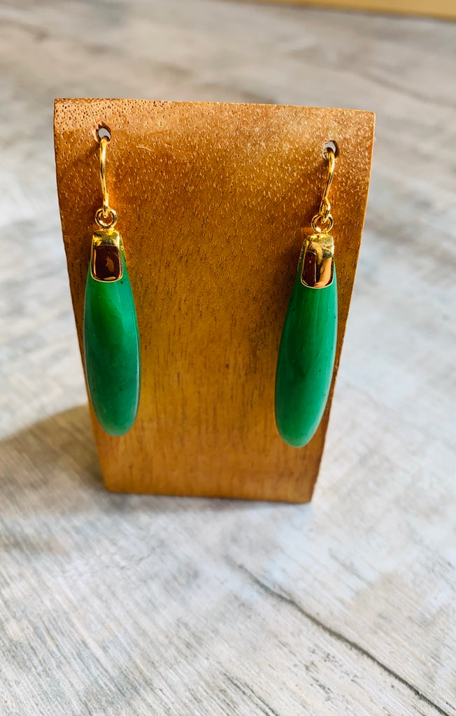 Long Jade Terdrop Earrings