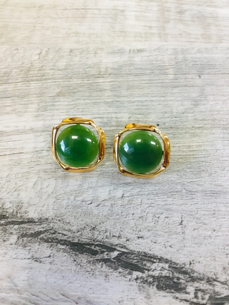 Jade Circle set in a sterling silver, gold plated twist, Stud Earrings