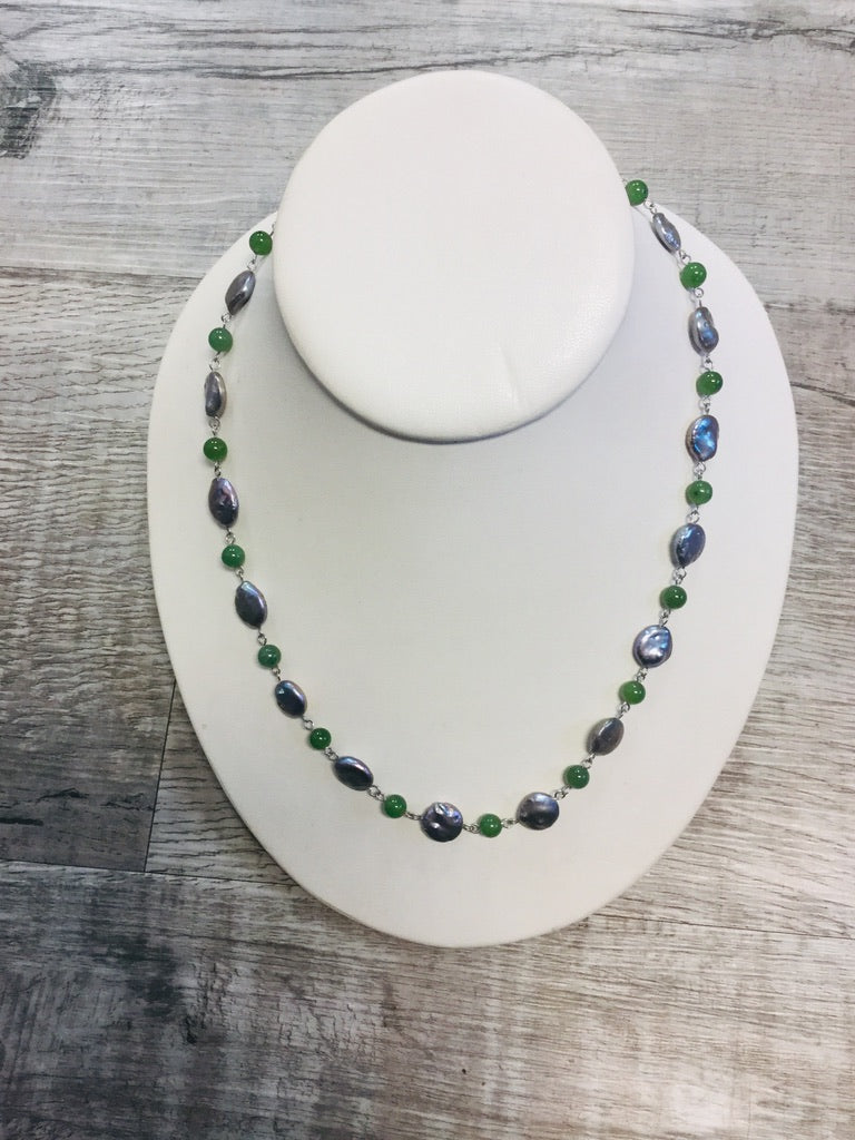 Jade and Flat Pearl Beads