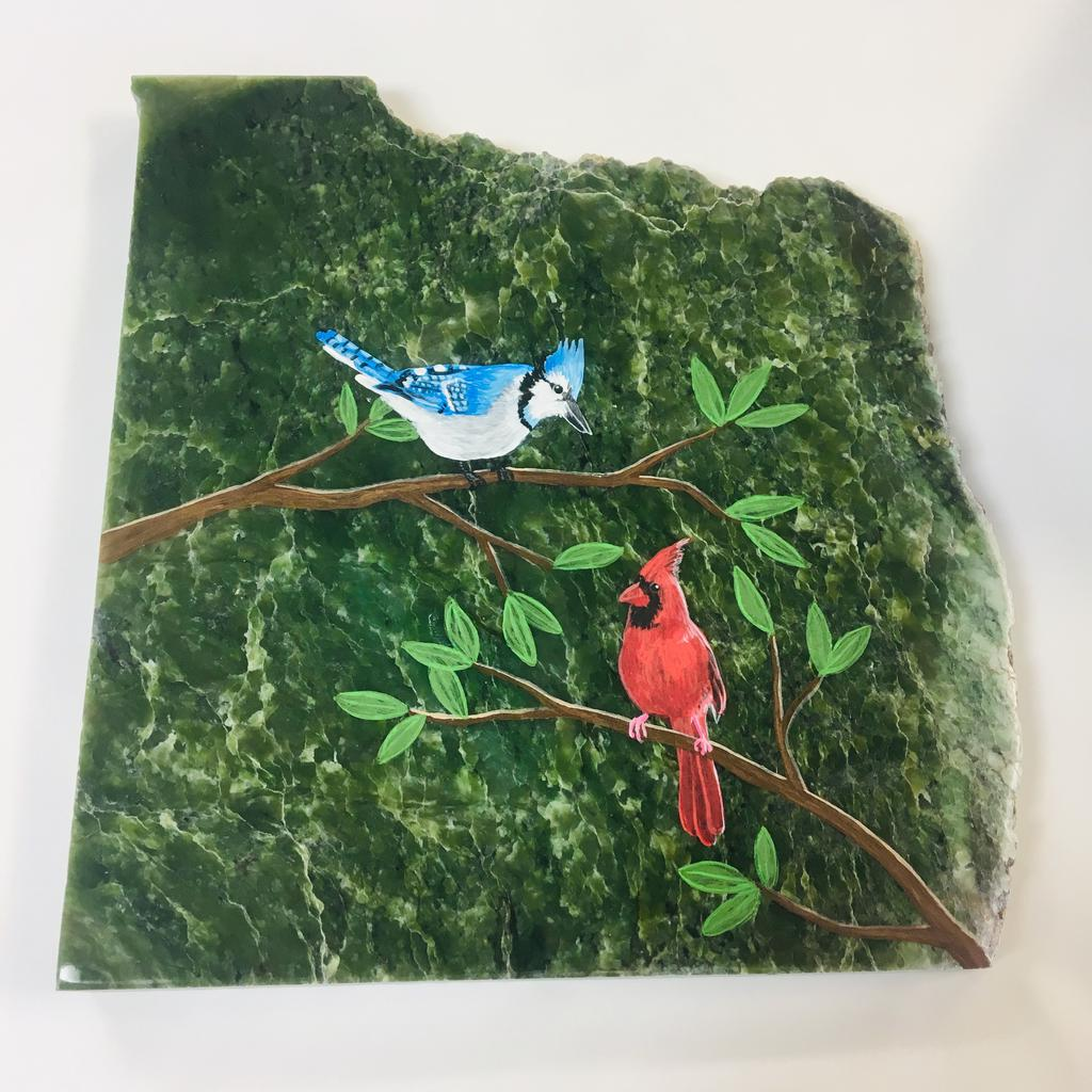 Bird painting, hand painted in Jade City