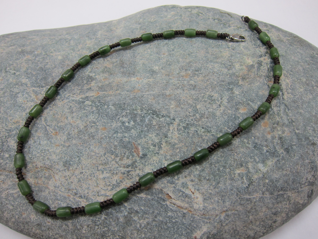 JEWELRY- JADE BEAD AND BROWN SILK CORD, 18 INCH
