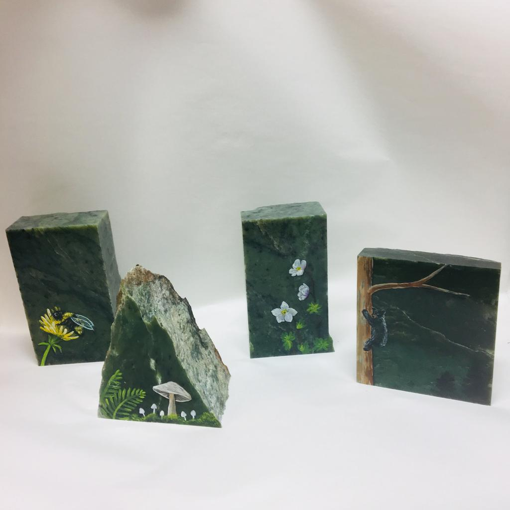 Assorted paintings on jade blocks, hand painted in Jade City