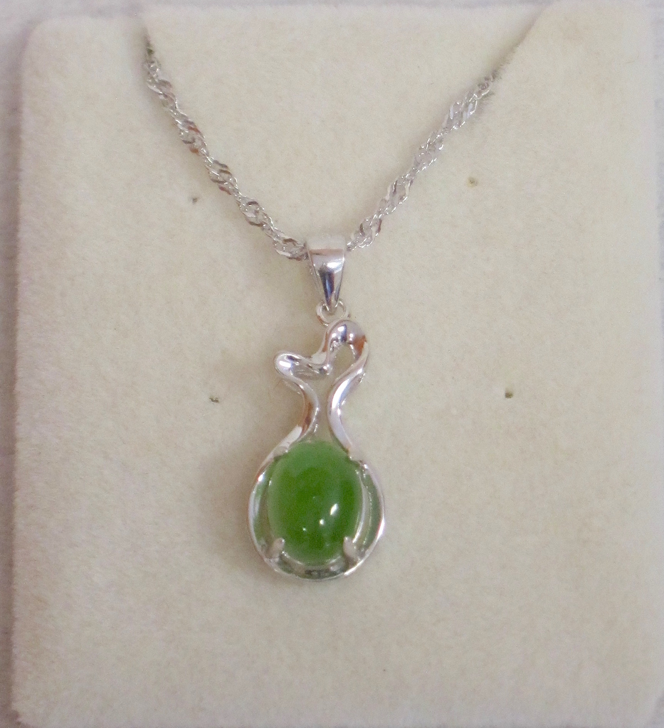 SMALL HEART WITH JADE OVAL PENDANT, STERLING SILVER