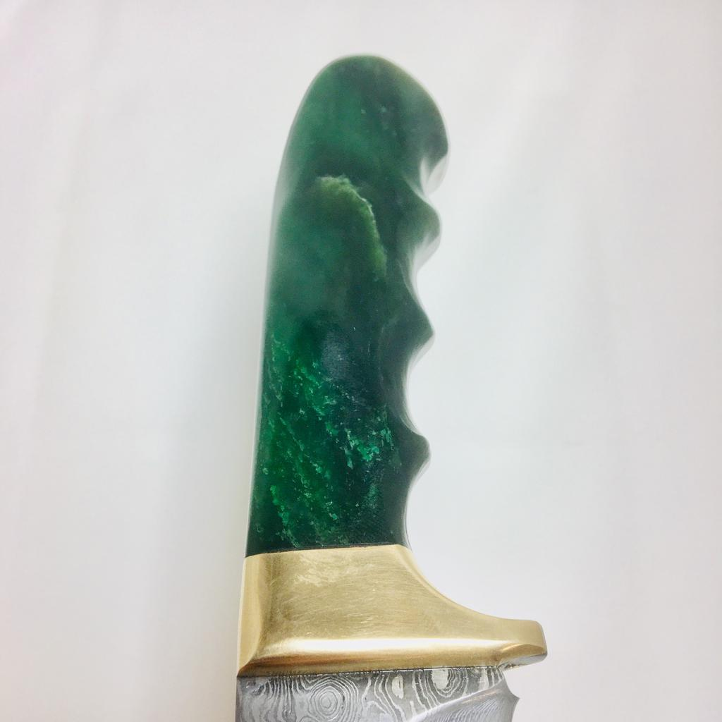 Damascus knife with Jade handle, handle carved in Jade City