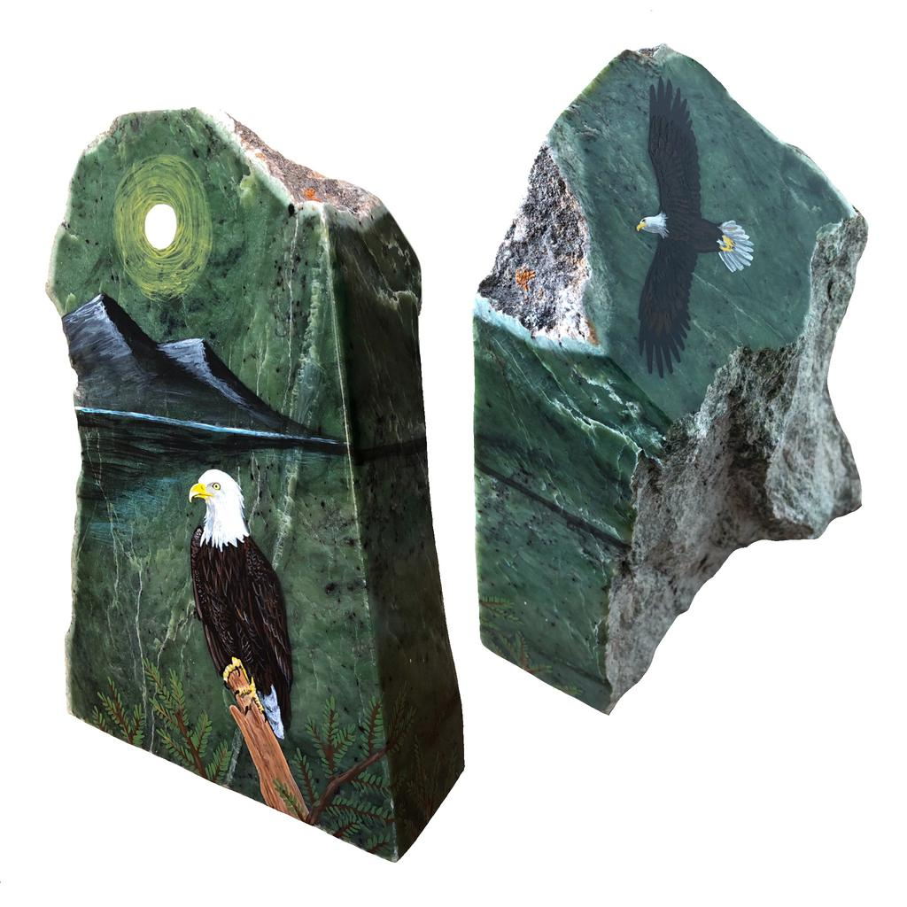 Eagle painting on jade block, hand painted right here in Jade City