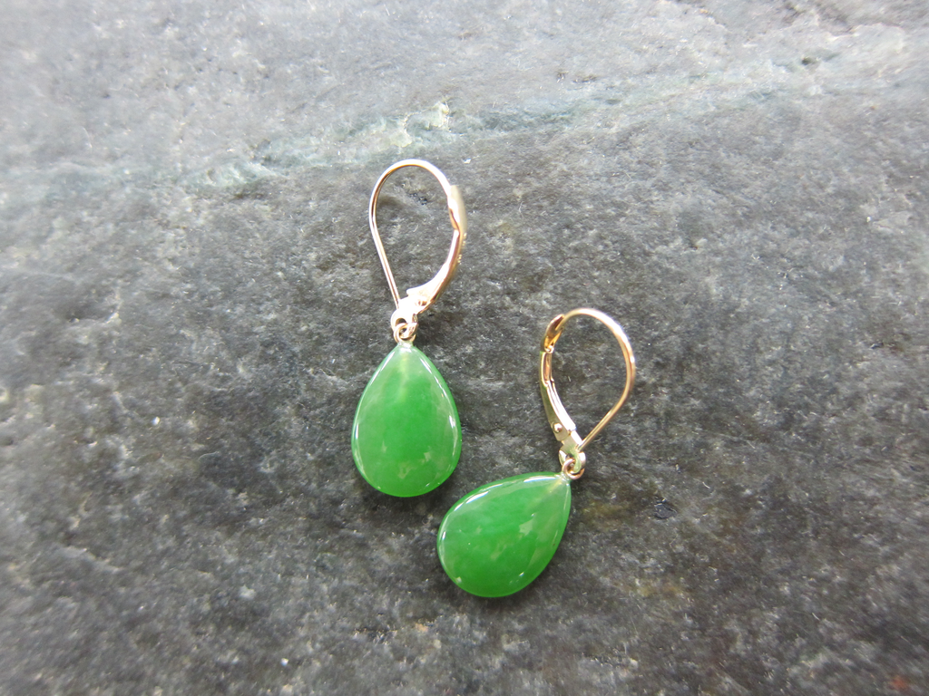 Jade Teardrop 14K gold earrings