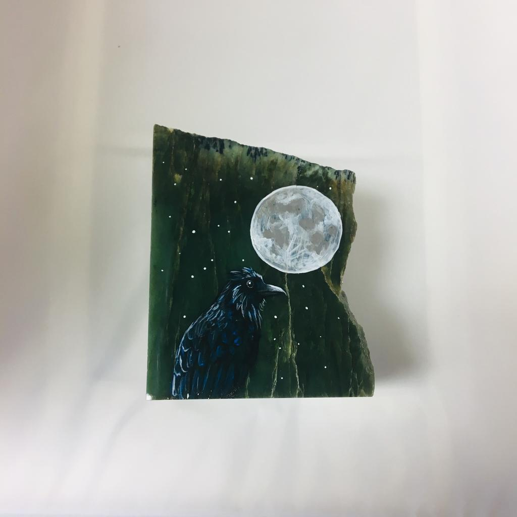 Killerwhale and Raven paintings on jade slabs