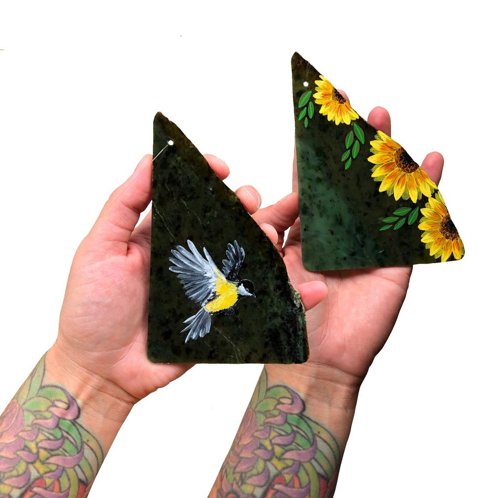 Leaf, floral, and bird paintings, hand painted in Jade City
