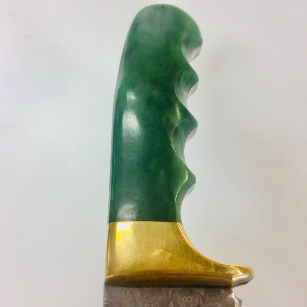 Raindrop damascus knife with jade handle, jade hand carved in Jade City
