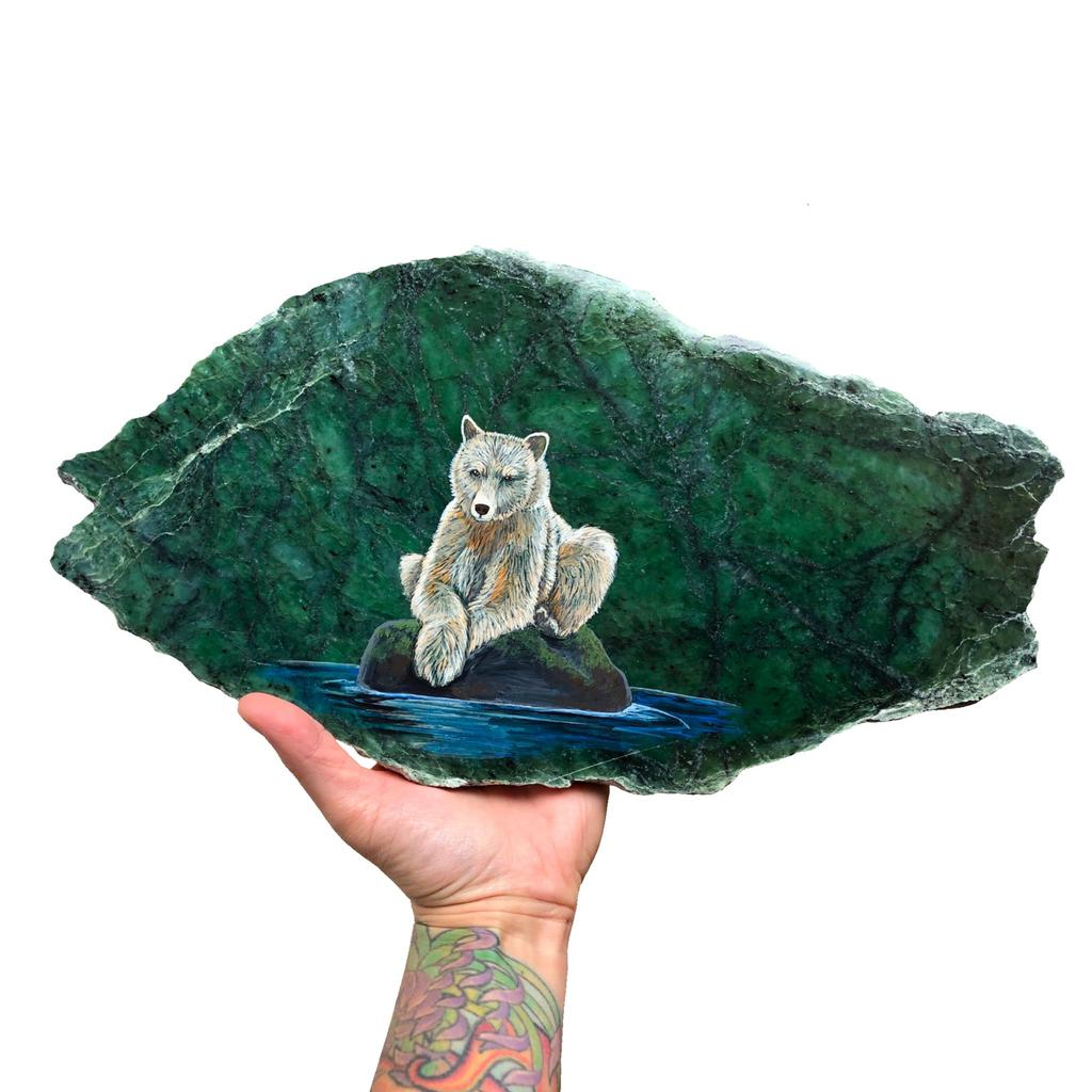 Kermode bear painted on jade slab