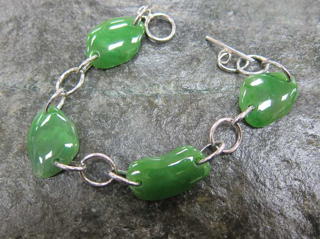 JEWELRY- JADE BEADS, IRREGULAR, STAINLESS STEEL
