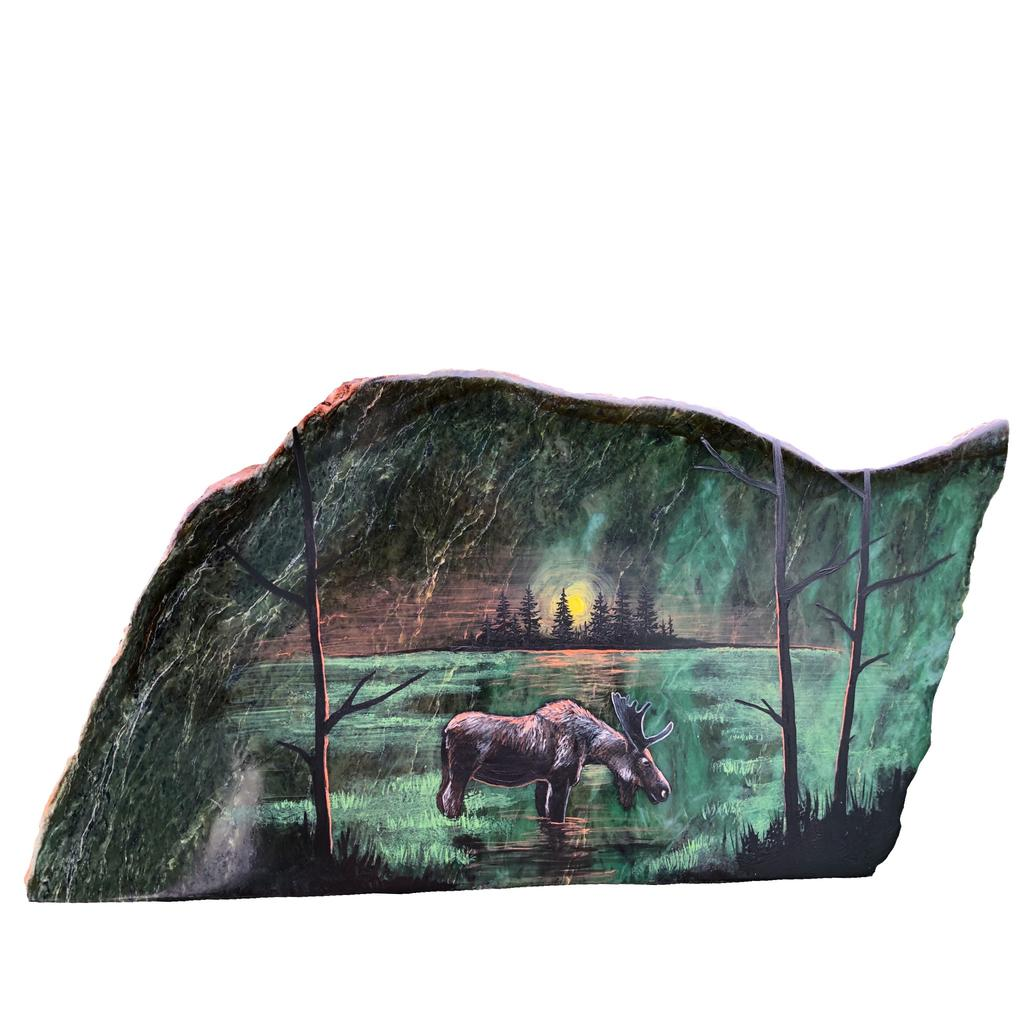 Moose in swamp setting, hand painted in Jade City