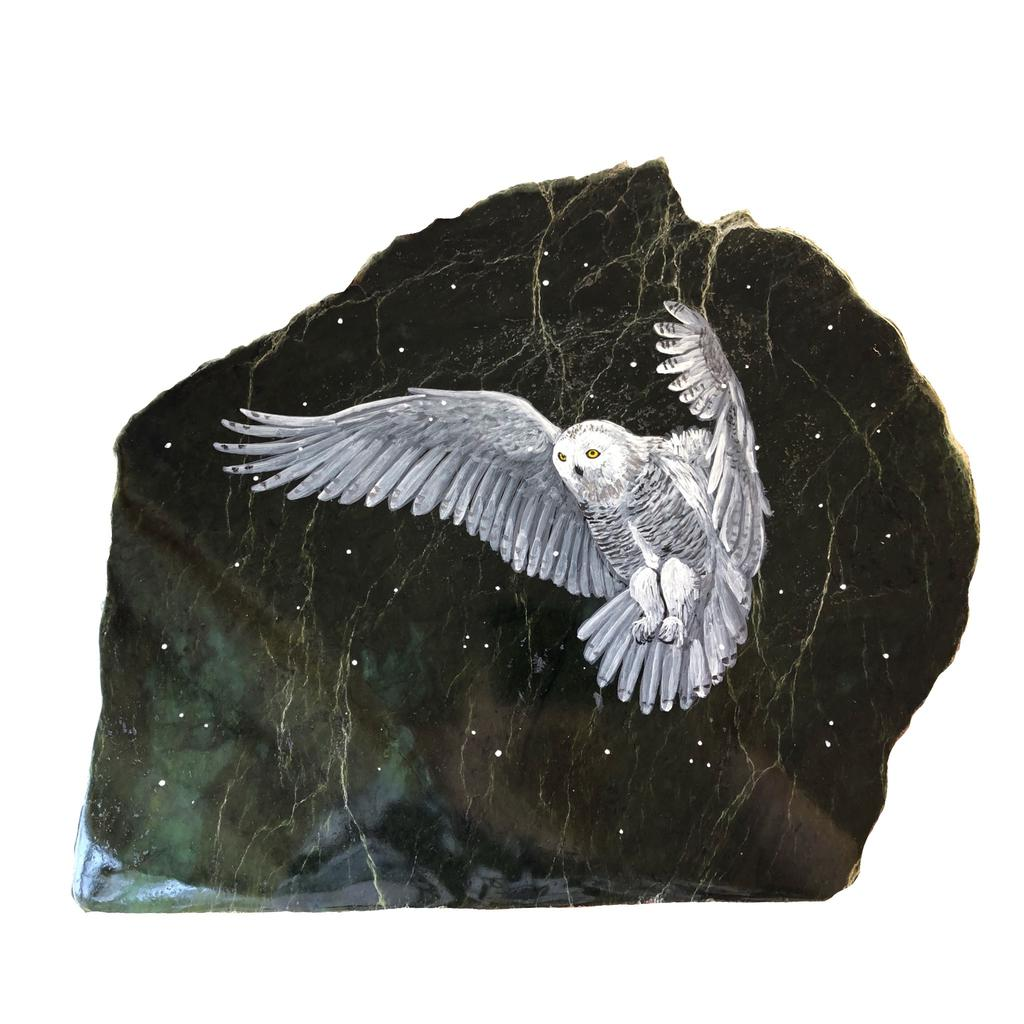 Snowy owl painting on black jade slab, hand painted in Jade City