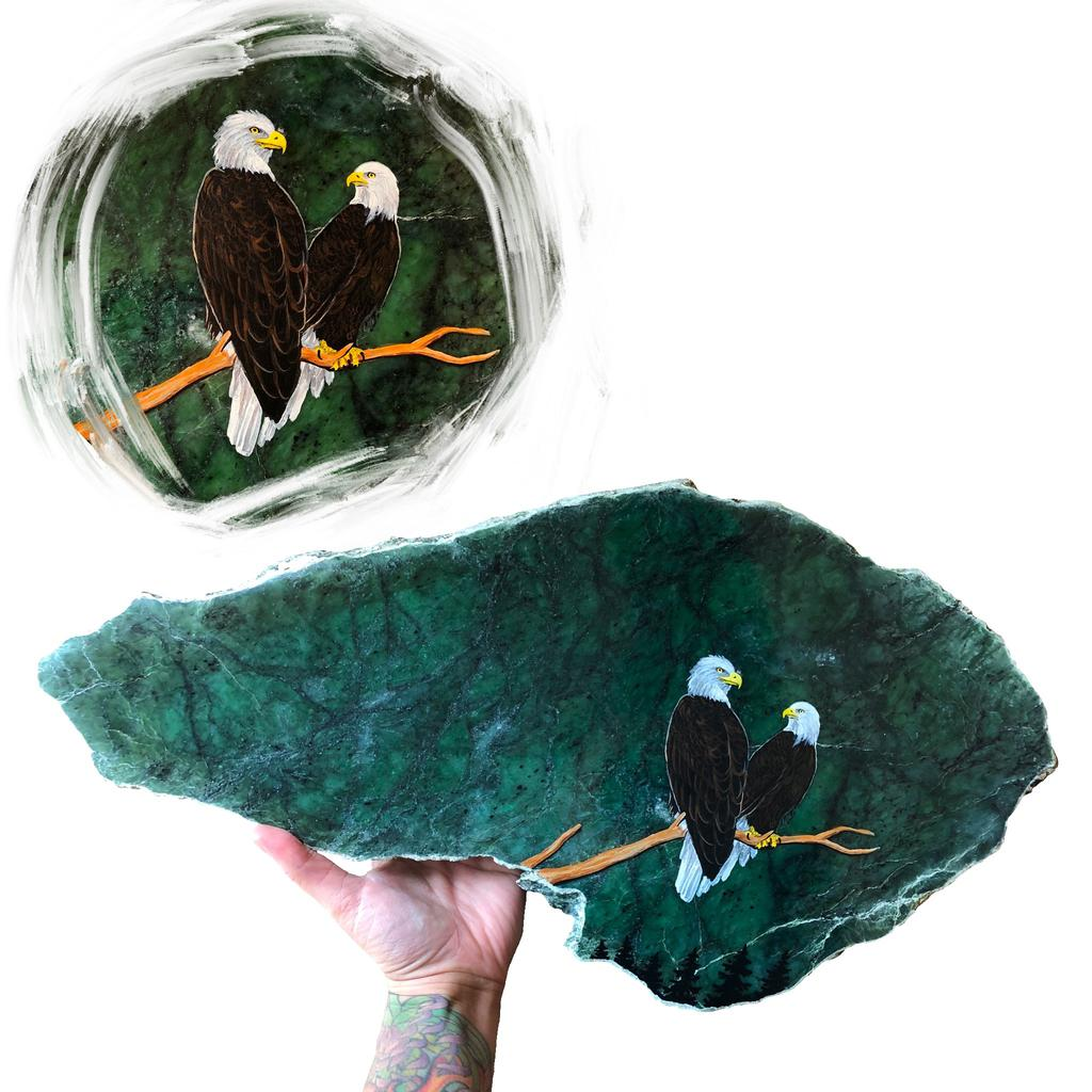Double eagle painting on jade slab, hand painted in Jade City