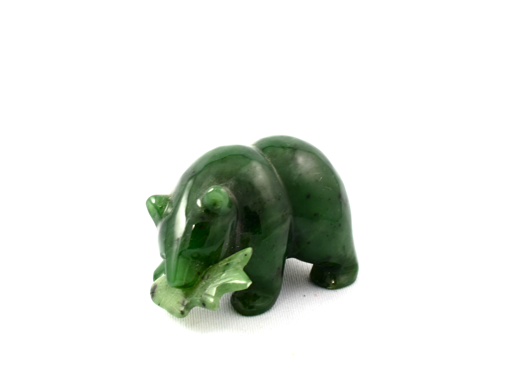 Jade Bear carving with fish