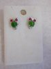 JADE OWL STUD EARRINGS, STERLING SILVER