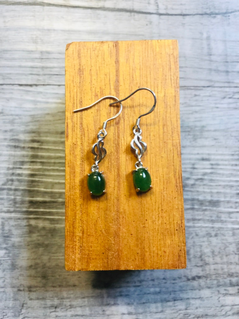 "Jade Oval and ""Cloud"" Dangle Earring"