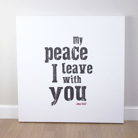 Christian wall art featuring scripture verse from John. 'My peace I leave with you'. Printed on quality canvas and hand-stretched. Stunning black on white contemporary design. 4 sizes. Free Delivery.