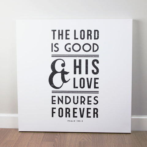 Christian wall art featuring scripture verse from Psalms. Printed on quality canvas and hand-stretched. Stunning black on white contemporary design. 4 sizes. Free Delivery.