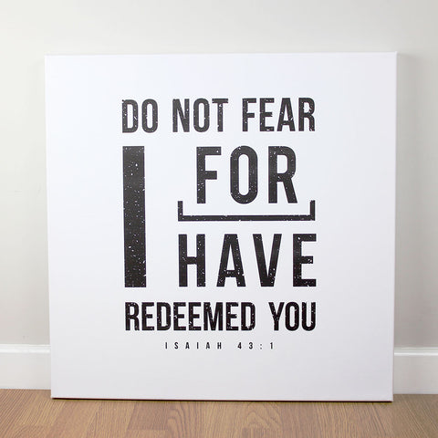 Christian wall art featuring scripture verse from Isaiah. Printed on quality canvas and hand-stretched. Stunning black on white contemporary design. 4 sizes. Free Delivery.