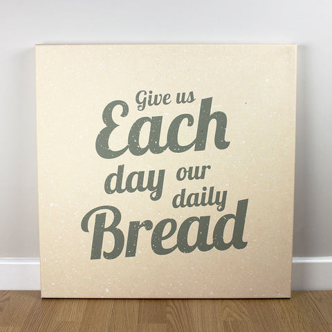Christian wall art featuring scripture verse from Matthew. 'Give us each day our daily bread'. Printed on quality canvas and hand-stretched. Bold, contemporary, coloured designs on soft, natural brown. 4 sizes. Free Delivery.