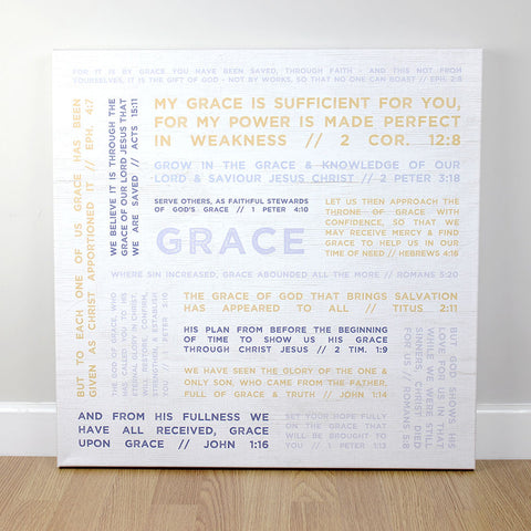 Christian wall art featuring a collection of scripture verses about 'Grace'.  Printed on quality canvas and hand-stretched. Bold, coloured words on wood effect with a rustic finish . 4 sizes. Free Delivery.