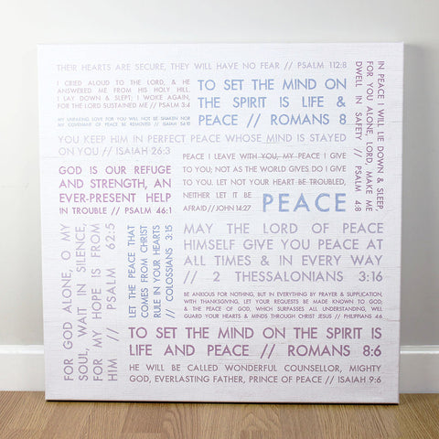 Christian wall art featuring a collection of scripture verses on the theme of Peace.  Printed on quality canvas and hand-stretched. Bold, coloured words on wood effect with a rustic finish . 4 sizes. Free Delivery.