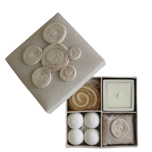 gift box with bath bombs, glycerine soap, candle and scented sachet