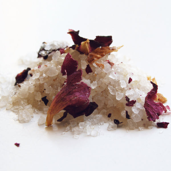 bath soak with sea salt and epsom salt infused with rose