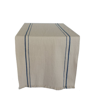 handwoven table runner natural with french blue stripe