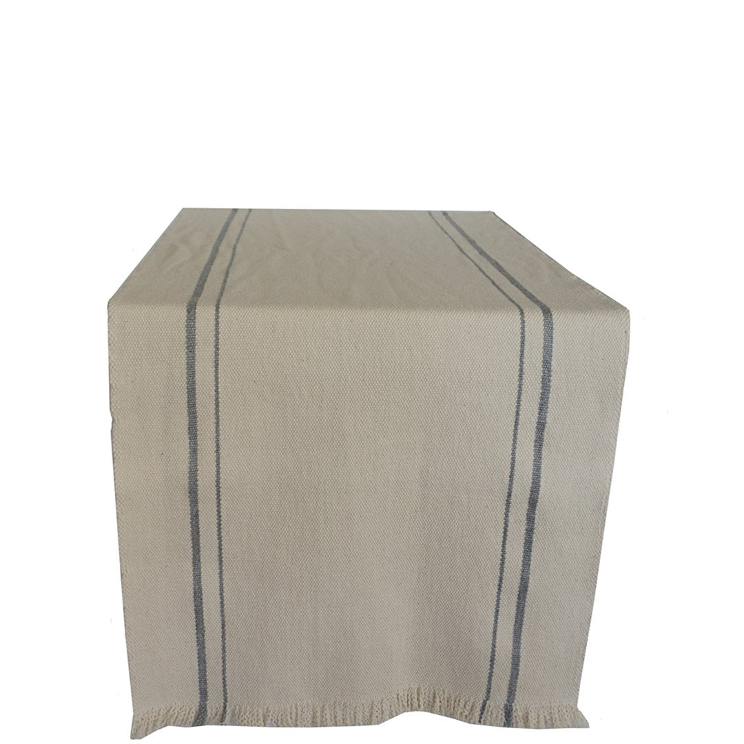 handwoven table runner natural with grey stripe small