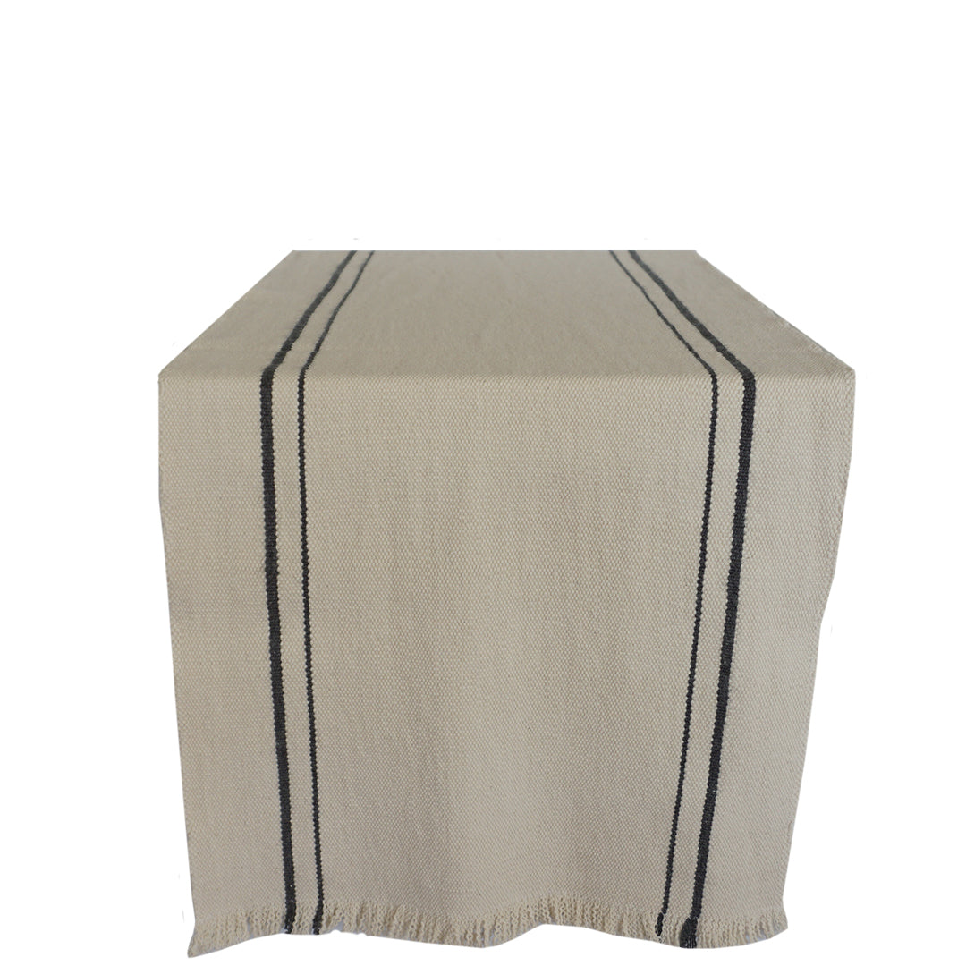 handwoven table runner natural with charcoal stripe