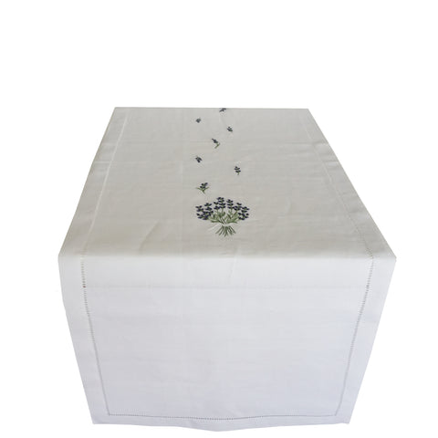 linen table runner - white with lavender embroidery