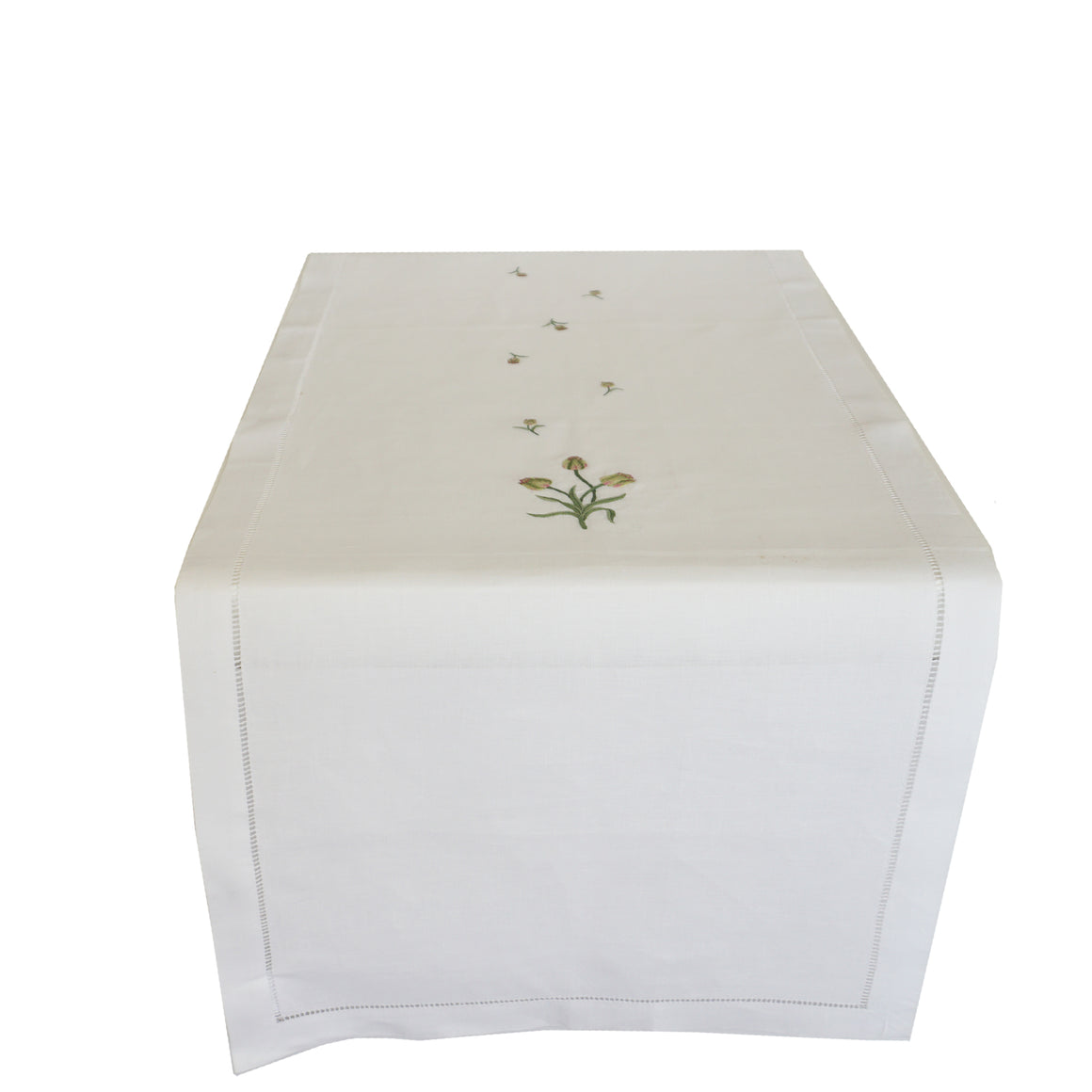 linen table runner - white with tulip embroidery