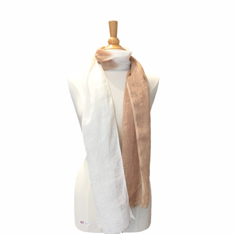pure linen scarf - jute and white