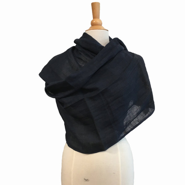 navy pure linen scarf