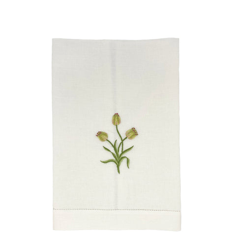 cotton linen embroidered guest towel