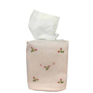 pink stripe tissue box cover with baby rosebuds