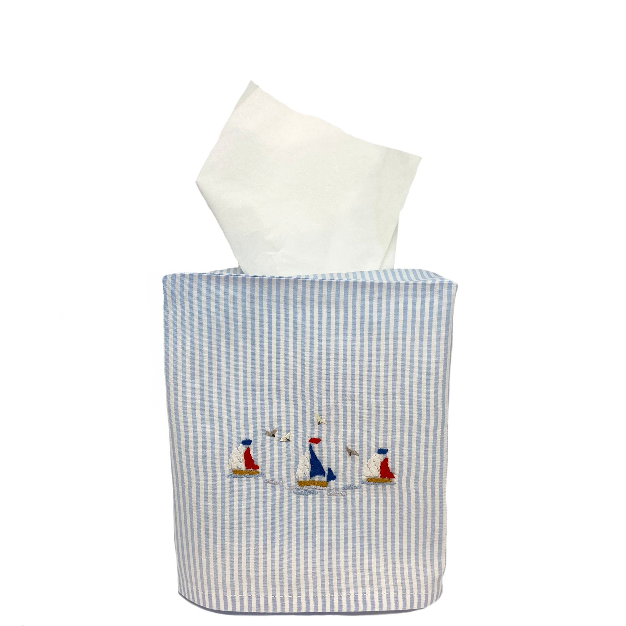 blue stripe tissue box cover with sailboats